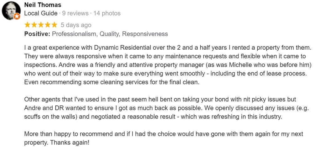 Property Leasing Google Review From Neil