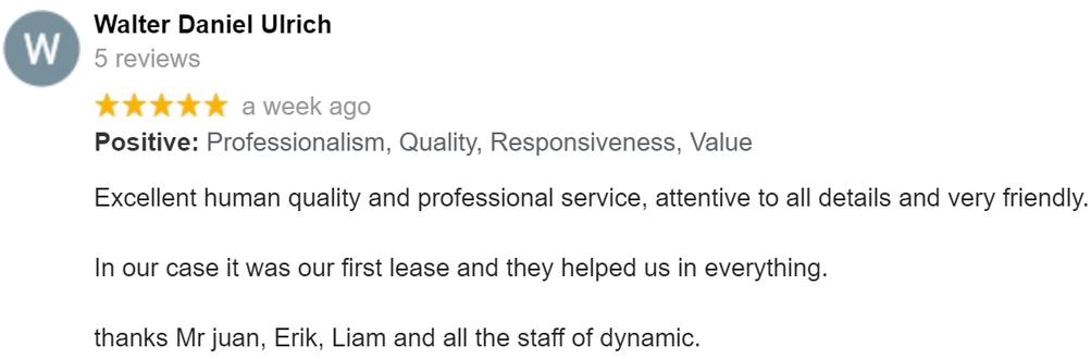 Property Renting Google Review From Walter